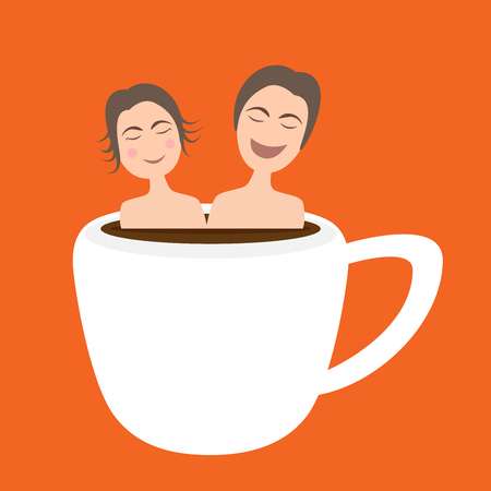 onsen: illustration of happy couple  taking bath in onsen hot coffee cup