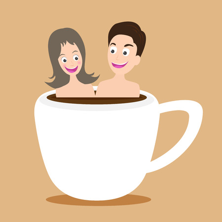hot couple: illustration of happy couple  taking bath in onsen hot coffee cup