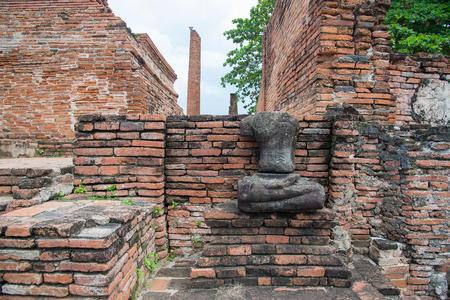 Ruin of Buddha statues in Wat Mahathat temple, Ayutthaya Historical Park, Phra Nakhon Si Ayutthaya, Ayutthaya ,THAILAND. Ancient city. Stock Photo