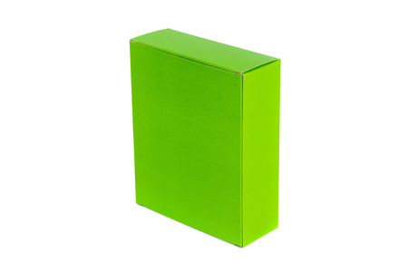 Closed green Box or green paper package box isolated with soft shadow on White background