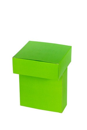 Green boxes stacked or green paper package box isolated on White background Stock Photo