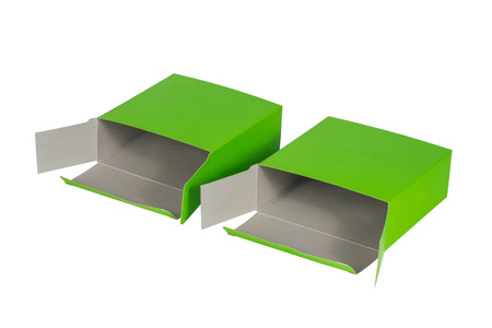 Two green Box with lid open or green paper package box isolated on White background Stock Photo