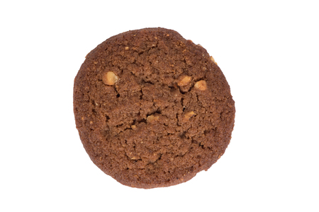 assort: Chocolate cashew nut butter cookie isolated on white background with shadow. top side view. Stock Photo