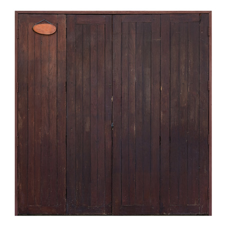 Old grunge wooden simple door isolated on white background, brown color wood.