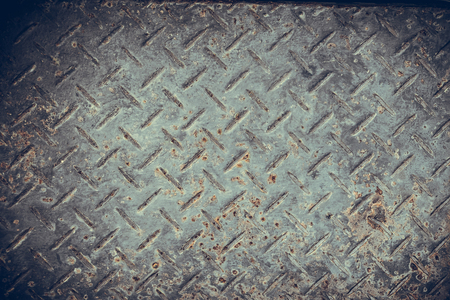 diamond plate: Old Seamless steel diamond plate texture, black and white rusty texture background in vintage tone with vignetting. Stock Photo