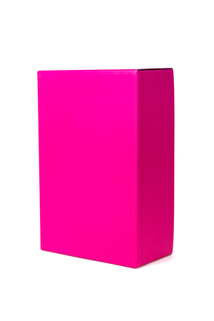Closed pink Box or paper package box isolated on White background
