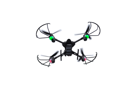 Flying drone of quadcopter isolated on empty white background.