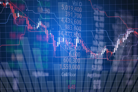 bullish market: Double exposure of candle stick graph chart with indicator showing bullish point or bearish point, up trend or down trend of price of stock market or stock exchange trading, investment and financial concept. thin focus. Stock Photo