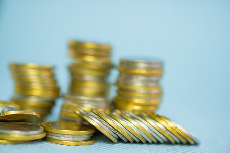 Stacks of coins with copy space for business and financial concept idea. shallow focus.