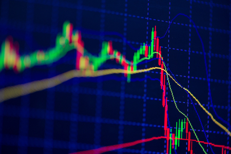 Kaars stok grafiek grafiek met indicator bullish punt of bearish punt, up trend of down trend van de prijs van de aandelenmarkt of beurs handel, investeringen en financiële concept weer gegeven. dunne focus.