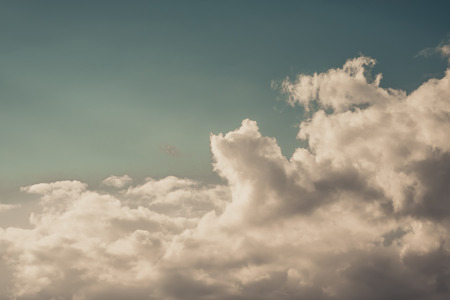 Deep blue sky and clouds, white cloud in the blue sky vintage tone.