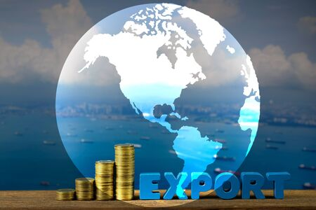 Double exposure EXPORT text and stack of coin on wood table over seascape and cargo ship and world map, element by NASA, import export concept idea.