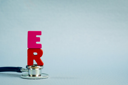 Text ER or emergency room alphabet with stethoscope, healthy and health care concept idea. Archivio Fotografico - 96886274