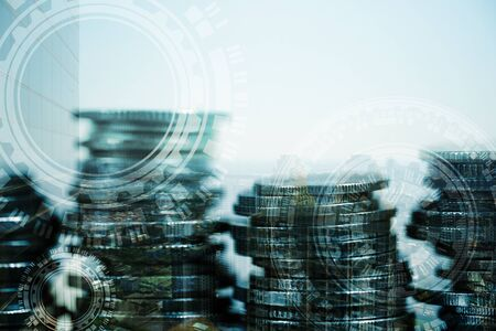 Double exposure of coin stack with city background and world map, financial graph, world map and global network business concept idea, element by NASA. Stock Photo - 97908361