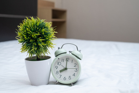 Vintage alarm clock and little decoration tree in white vase on the bed in bedroom at home, wake up or bed time concept idea.