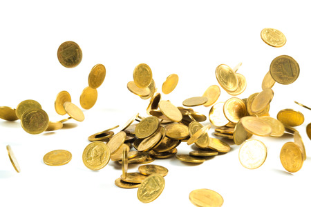 Falling gold coins money isolated on the white background, business money and finance concept idea.