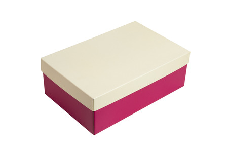 Pink shoes box with beige lid for shoe or sneaker product packaging mockup, isolated on white background. with clipping path.