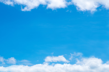 Blue sky with soft tiny cloud, cloudscape on sunny day for background or postcard. Abstract nature view.