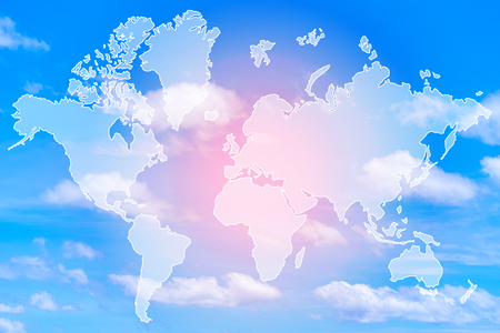 Double exposure of world map above sweet pastel colored cloud and sky with sun light, soft cloudy with gradient pastel color background