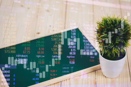 Double exposure of blank green chalkborad and little tree on wooden table with stock market screen chart board and candle stick for financial business and investor analysis concept idea. Stok Fotoğraf