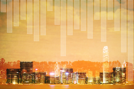 Double exposure Stack of coin with financial graph over city and office building background, business and financial concept idea.