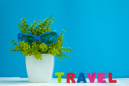 TRAVEL letters text and notebook paper and little decoration tree in white vase on wooden background, travel vacation concept idea.