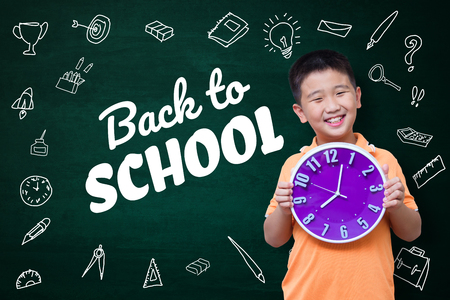 Back to school text with Asian kid and stationery supplies school object activities for learning, hand drawn on the green chalkboard, education back to school concept idea.