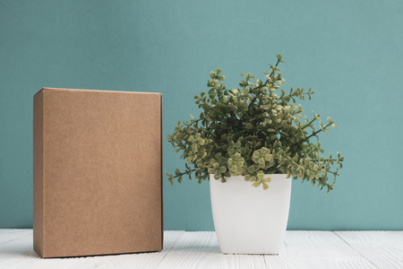 Empty Package brown cardboard box or tray and little decoration tree in white vase on bright white wooden table with green wall background. copy space for add text or advertising word.