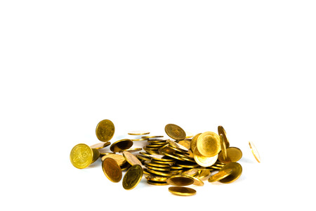 Falling gold coin, flying coin, rain money isolated on white background, business and financial wealth and take profit concept idea. Stock Photo