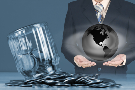Double exposure of coins stacks and glass jar with businessman, for saving for the future banking finance Stock Photo