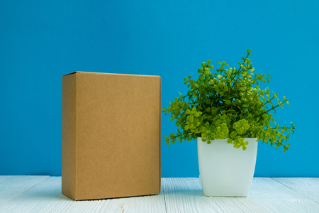 Empty Package brown cardboard box or tray and little decoration tree in white vase on bright white wooden table with blue wall background. copy space for add text or advertising word. Stock Photo