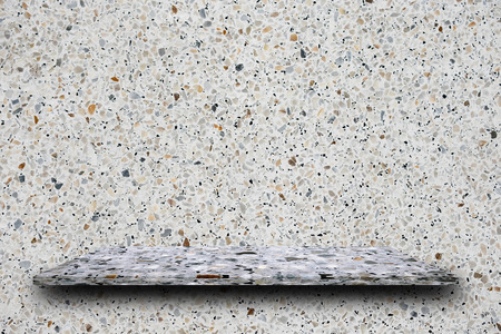 Empty top of polished terrazzo stone shelves on terrazzo wall background, product display, you can put product on shelf.