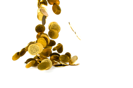 Falling gold coin, flying coin, rain money isolated on white background, business and financial wealth and take profit concept idea. 스톡 콘텐츠
