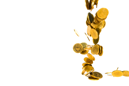 Movement of falling gold coin, flying coin, rain money isolated on white background, business and financial wealth and take profit concept idea. 스톡 콘텐츠