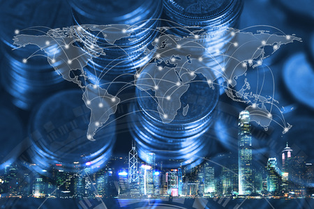 Double exposure of coin stack with city background and world map, financial graph, world map and global network business concept idea, element by NASA.