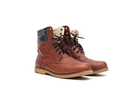 Male brown leather boot, men footwear fashion isolated on white background.