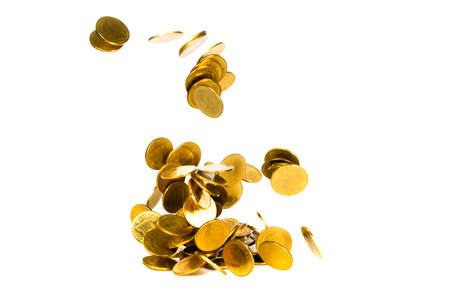 Movement of falling gold coin, flying coin, rain money isolated on white background, business and financial wealth and take profit concept idea. Banque d'images
