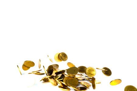 Falling gold coin, flying coin, rain money isolated on white background, business and financial wealth and take profit concept idea. Foto de archivo