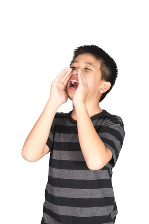 Asian child yelling, screaming, shouting, hand on his mouth, isolated on white background. with clipping path. Stok Fotoğraf