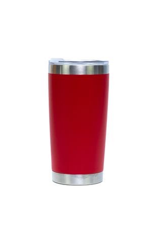 Red colour stainless steel tumbler or cold and hot storage cup isolated on white background. 스톡 콘텐츠