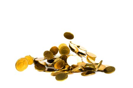 Movement of falling gold coin, flying coin, rain money isolated on white background, business and financial wealth and take profit concept idea. 写真素材