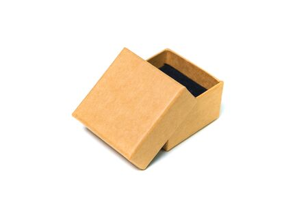 Empty opened brown small cardboard box with lid for mock up isolated on white background.