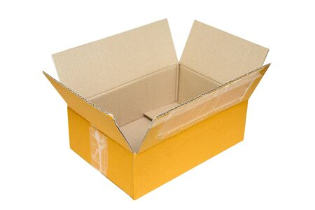 Empty opened old brown small cardboard box for mock up isolated on white background with clipping path Stock Photo