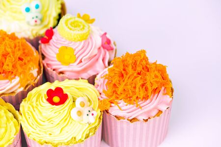 Delicious cupcake in row for valentine, birthday and special day.