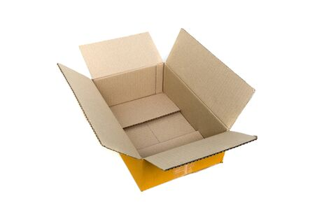 Empty opened old brown small cardboard box for mock up isolated on white background. Stok Fotoğraf