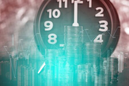 Double exposure of alarm clock and coins stacks with city background and finance graph, time for savings money concept, banking and business concept idea.