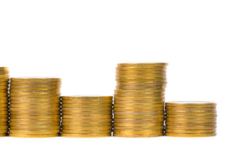 Columns of gold coins, piles of coins arranged on white background, business banking idea.