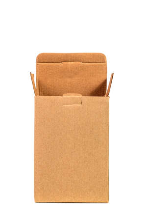 Rectangle opened brown cardboard box packaging blank template in isolated on white background