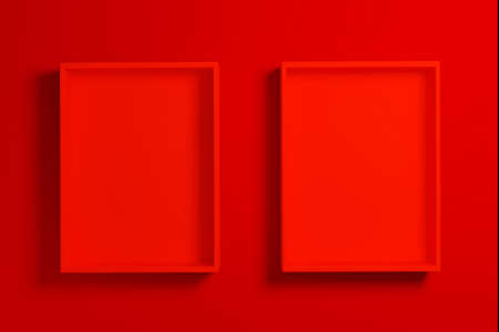 Red box or tray mockup on red background for product presentation, 3d render. 版權商用圖片