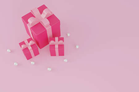 Pink gift box or present box on pink pastel background, minimal Christmas New Year and valentine concept.3D rendering. 版權商用圖片